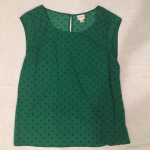 Gorgeous green blouse with navy pattern